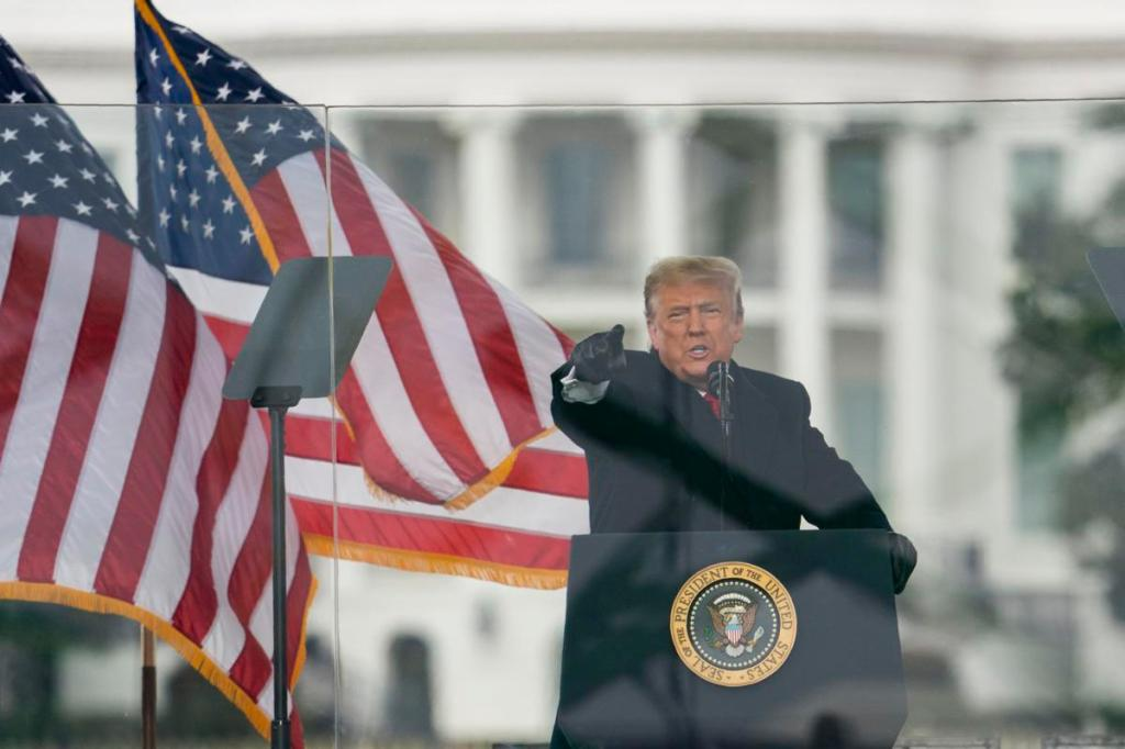 U.S. President Donald Trump speaks during a rally near the White House in Washington, D.C. on Wednesday, before supporters stormed the U.S. Capitol where Congress was assembled to certify the Electoral College votes. (Bloomberg) BAWN