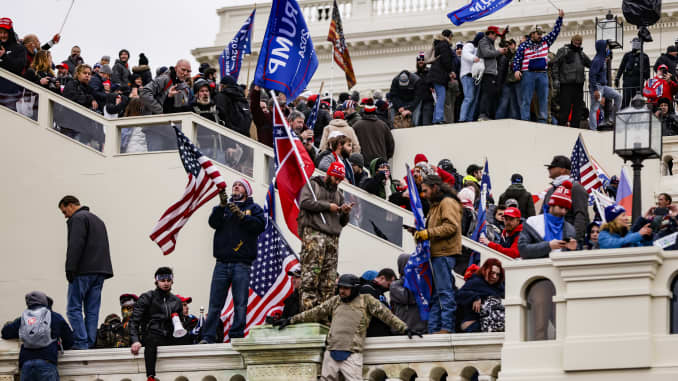 Pro-Trump supporters storm the U.S. Capitol following a rally with President Donald Trump on January 6, 2021 in Washington, DC. BAWN Samuel Corum | Getty Images